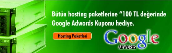 İsimtescil.Net hosting paketlerine Google Adwords hediye ediyor