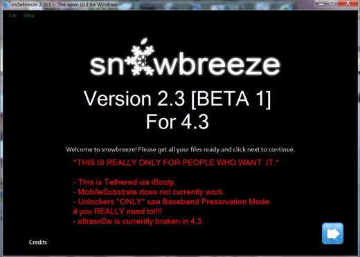 snowbreeze-2.3b1 OS 4.3