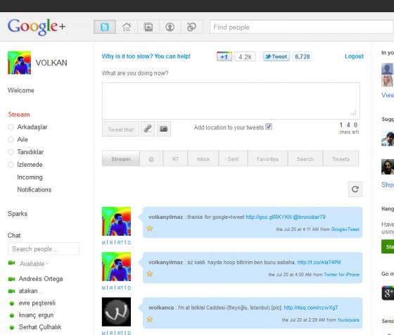 Google+ Twitter bir arada