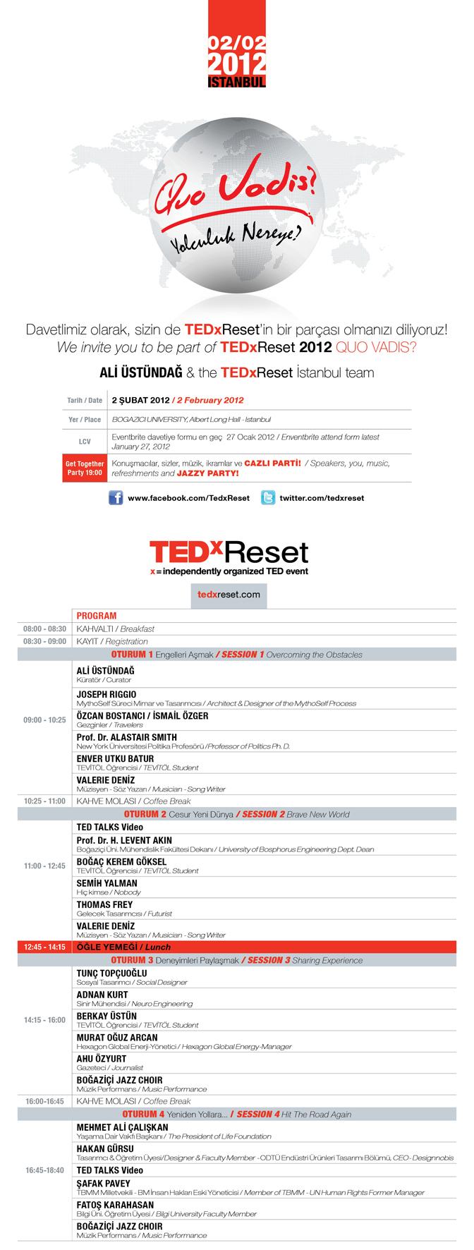 TEDxRESET 2012 YOLCULUK NEREYE - QUO VADIS?