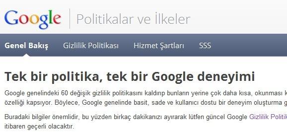 Google Politikalar ve İlkeler