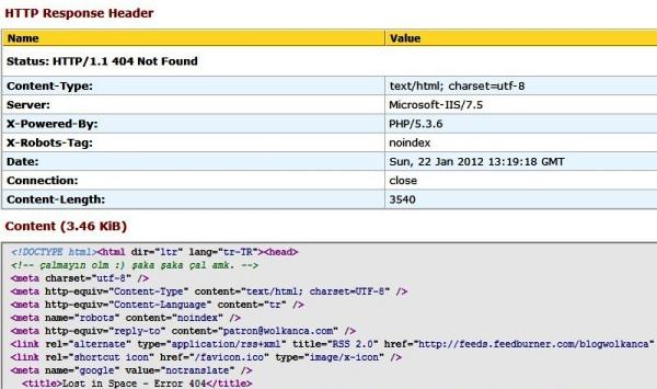Lost Space - HTTP Header Status