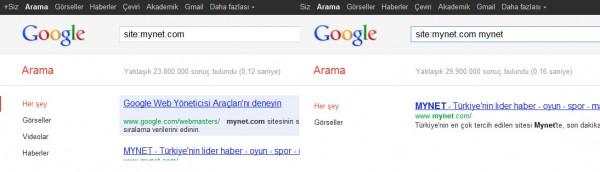 Google indeks sayısı
