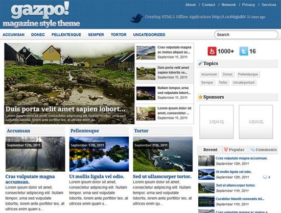 gazpo wordpress theme -2011 en iyi ücretsiz temalar