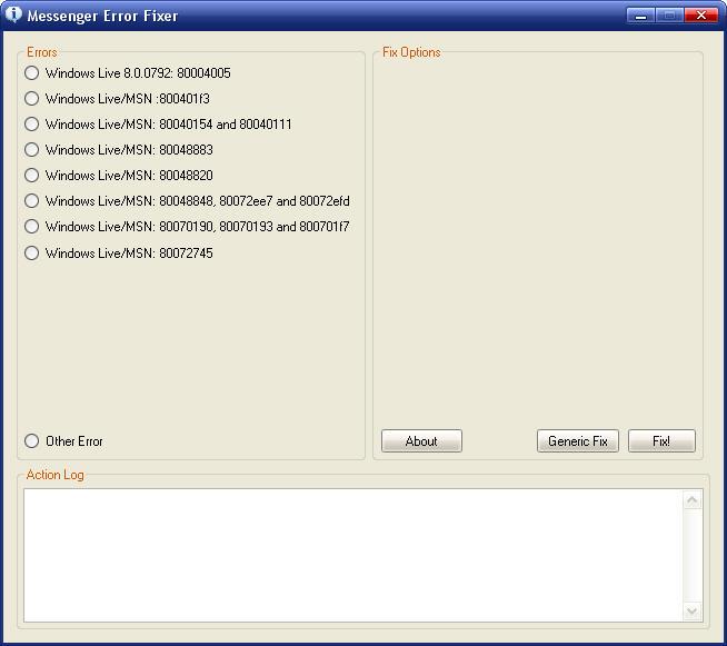 Msn Messenger Hata kodları ve çözümleri