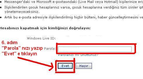 Msn hotmail hesabı kapatma 6