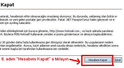 Msn hotmail hesabı kapatma 8