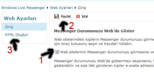Messenger Durumunu Web de Göster