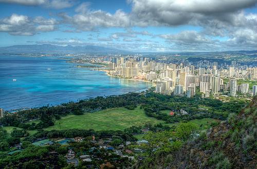 HDR Waikiki from Diamond Head HDR by JPhilipson