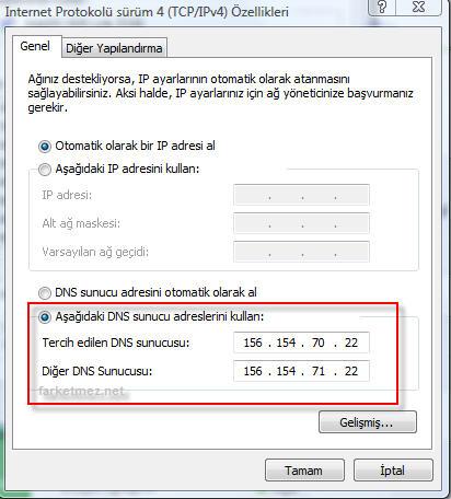 Google Servislerine ve Youtube a Girilmesi için Yeni DNS Adresleri