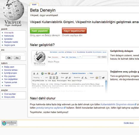 Wikipedia görünümünü değiştiriyor