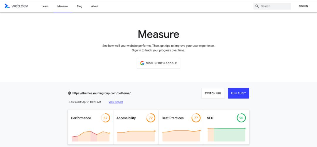 web.dev ile temanın performansını ölçmek
