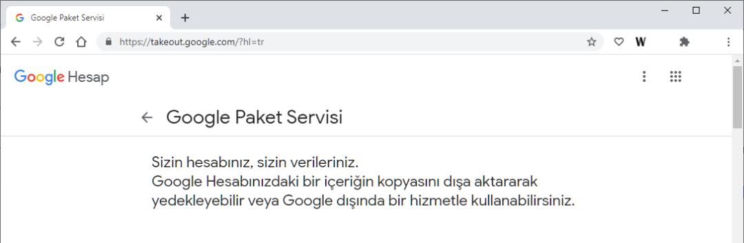 Google Paket Servisi - Google Takeout