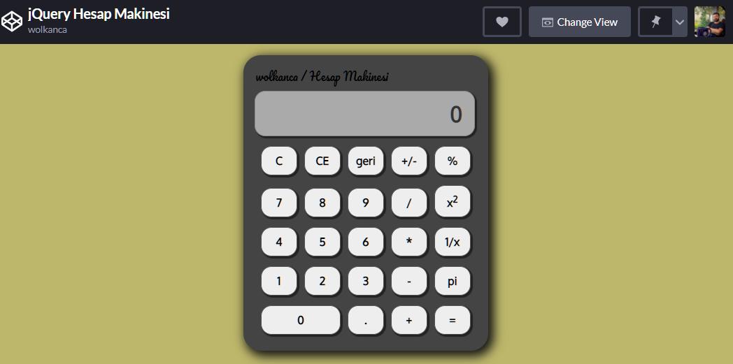 jQuery ile Hesap Makinesi