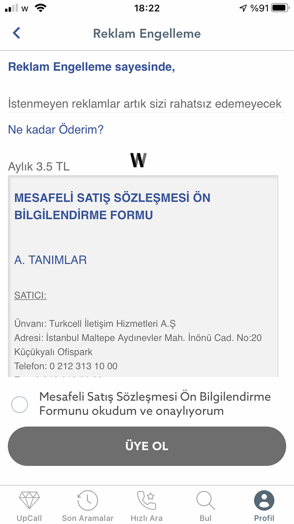 UpCall Turkcell Uygulama