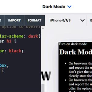 AMP safyalarında Dark Mode örneği