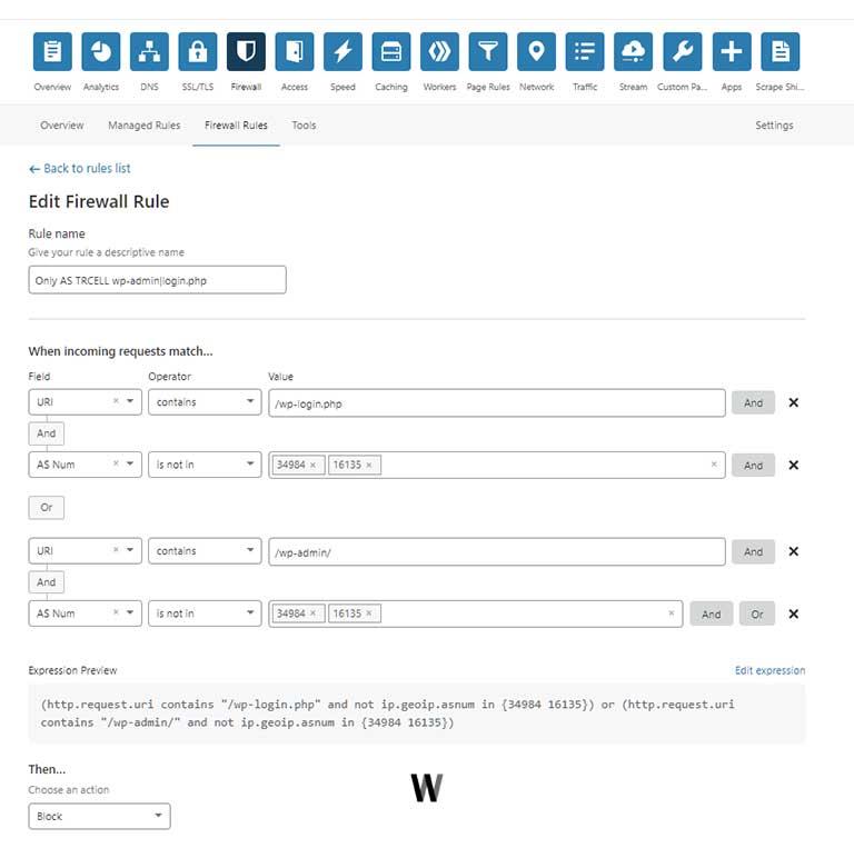 Cloudflare Firewall Rule for WordPress Admin