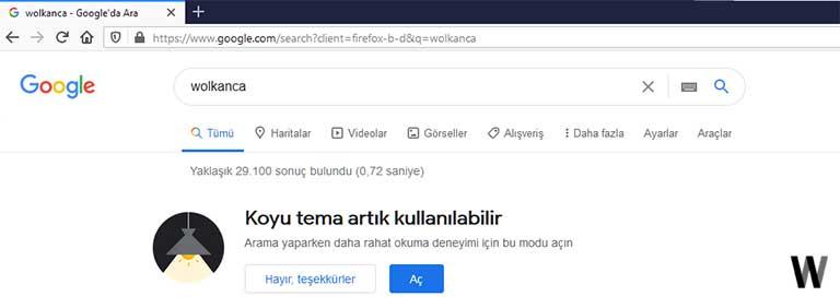 Google karanlık tema bildirimi
