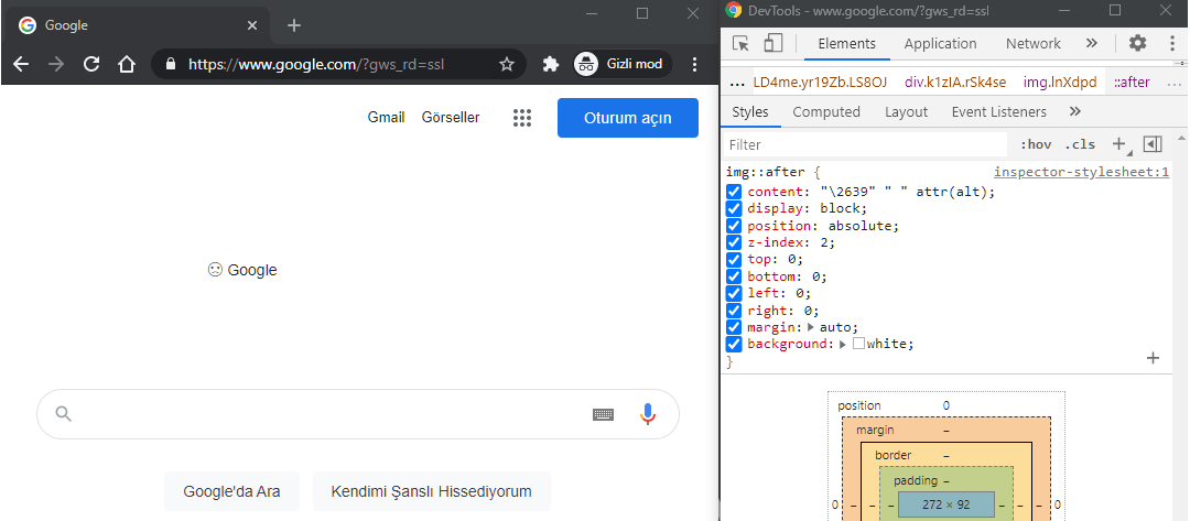 CSS ile yaptığımız kırık img görüntüsü