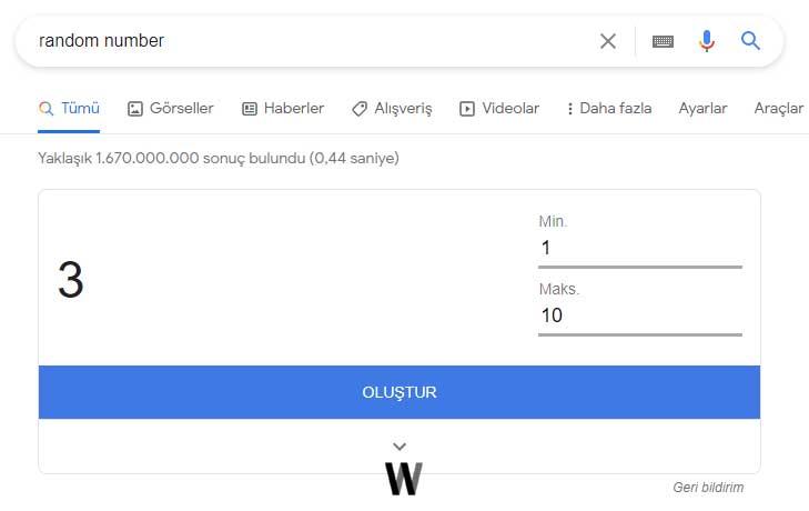 Rastgele rakam - Google