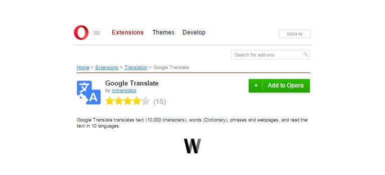 Google Translate - Opera add-ons